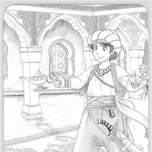 Aladin met lamp kleurplaat