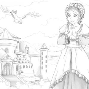 Dienstmeid naast een kasteel kleurplaat
