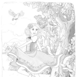 Meisjes In Het Bos Kleurplaat
