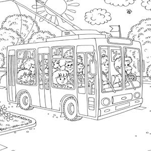 In De Bus Kleurplaat