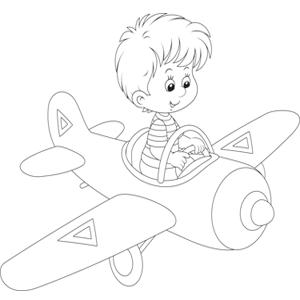 Jongetje op een vliegtuig kleurplaat