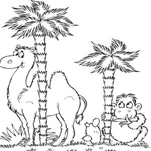 Kameel en een aap kleurplaat