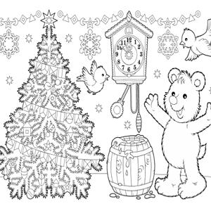 Kerst beertje kleurplaat