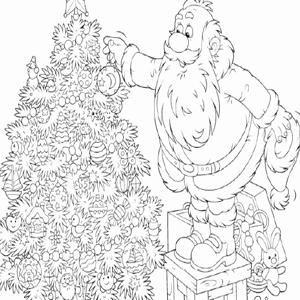 Kerstman en kerstboom kleurplaat