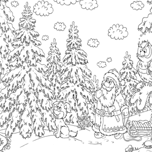 Kerstman In Het Bos Kleurplaat