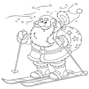 Kerstman op skis kleurplaat
