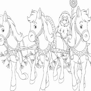 Kerstman met pony kleurplaat