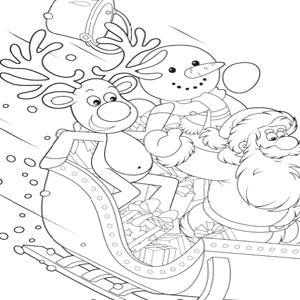 Kerstman met kerstslee kleurplaat