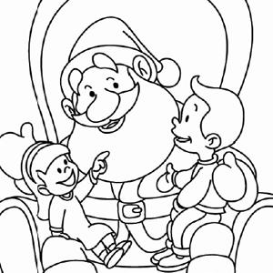 Kerstman met kinderen kleurplaat