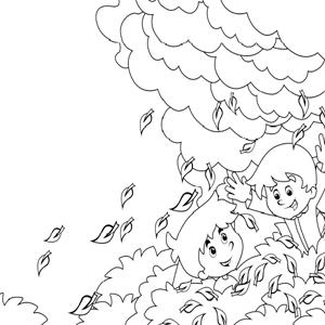 Kinderen in de herfst kleurplaat