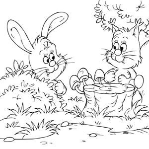konijntjes kleurplaat