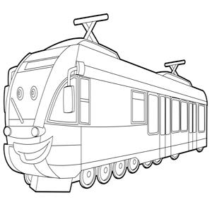 lachende trein kleurplaat