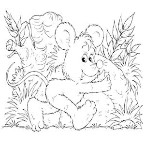 Muis in het bos kleurplaat