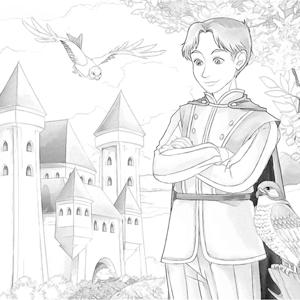 Prins met havik kleurplaat